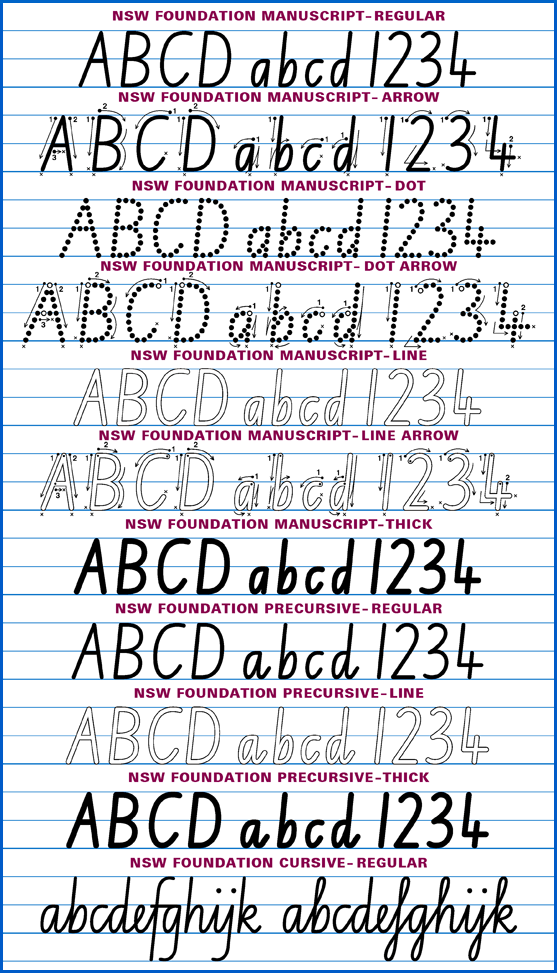 Samples of all the Australian School Fonts in Aussie School Fonts Plus